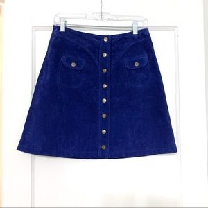 Anthropologie Blue Suede Button-front Mini Skirt
